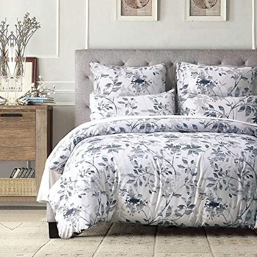 Cozyholy Elegant Comforter Cover and Pillowcases Set Abstract Leaves Pattern Duvet Cover Set Vintage Bohemian Design Ultra Soft Zipper Colsure Bedding Set ()
