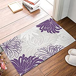 "Non Slip Backing Doormat Daisy Floral Printed Indoor/Outdoor/Front Door/Bathroom Entrance Mat Rugs,Purple (18""x30"")"
