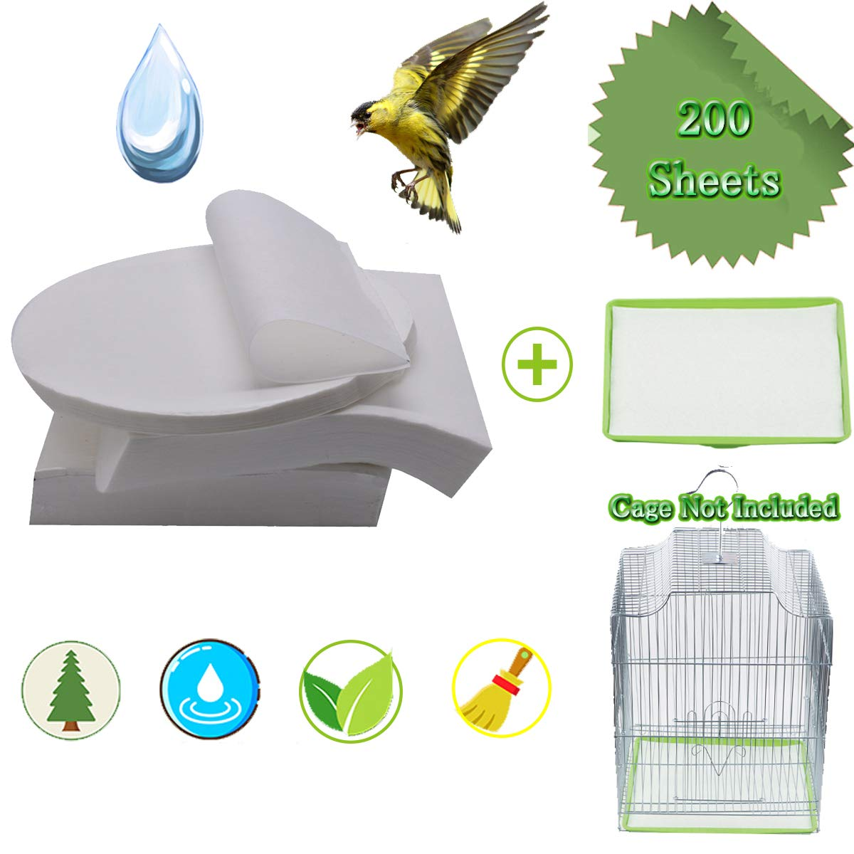 Bonaweite Extra Large Disposable Non-Woven Bird Cage Liners Papers, Parrot Pet Cages Cushion Pad Mat Accessories - 200 Sheets by Bonaweite