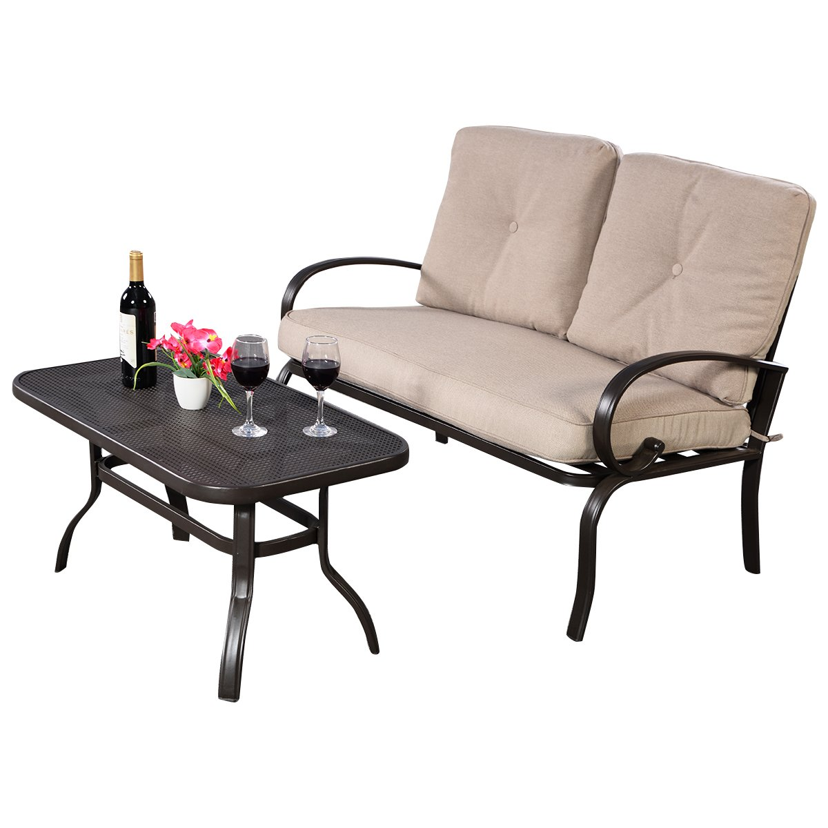 Giantex 2 Pcs Patio Outdoor LoveSeat Coffee Table Set Furniture Bench With Cushion