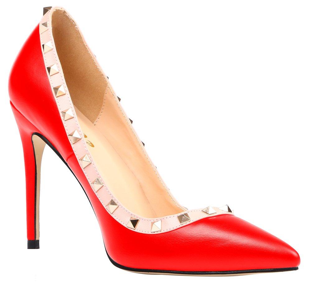 AOOAR Damen Übergröße High Pumps Heels mit Nieten Pumps High Rot/Pu 60058b