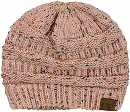 0ad7f0744f0fb C.C Unisex Colorful Confetti Soft Stretch Cable Knit Beanie Skull Cap -  Indi Pink