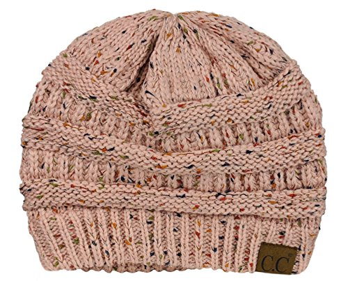 C.C Unisex Colorful Confetti Soft Stretch Cable Knit Beanie Skull Cap - Indi Pink