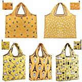 reusable shopping bags reusable grocery bags foldable tote bag washable large lightweight cloth totes with pouch durable ripstop (5 Pack Set)