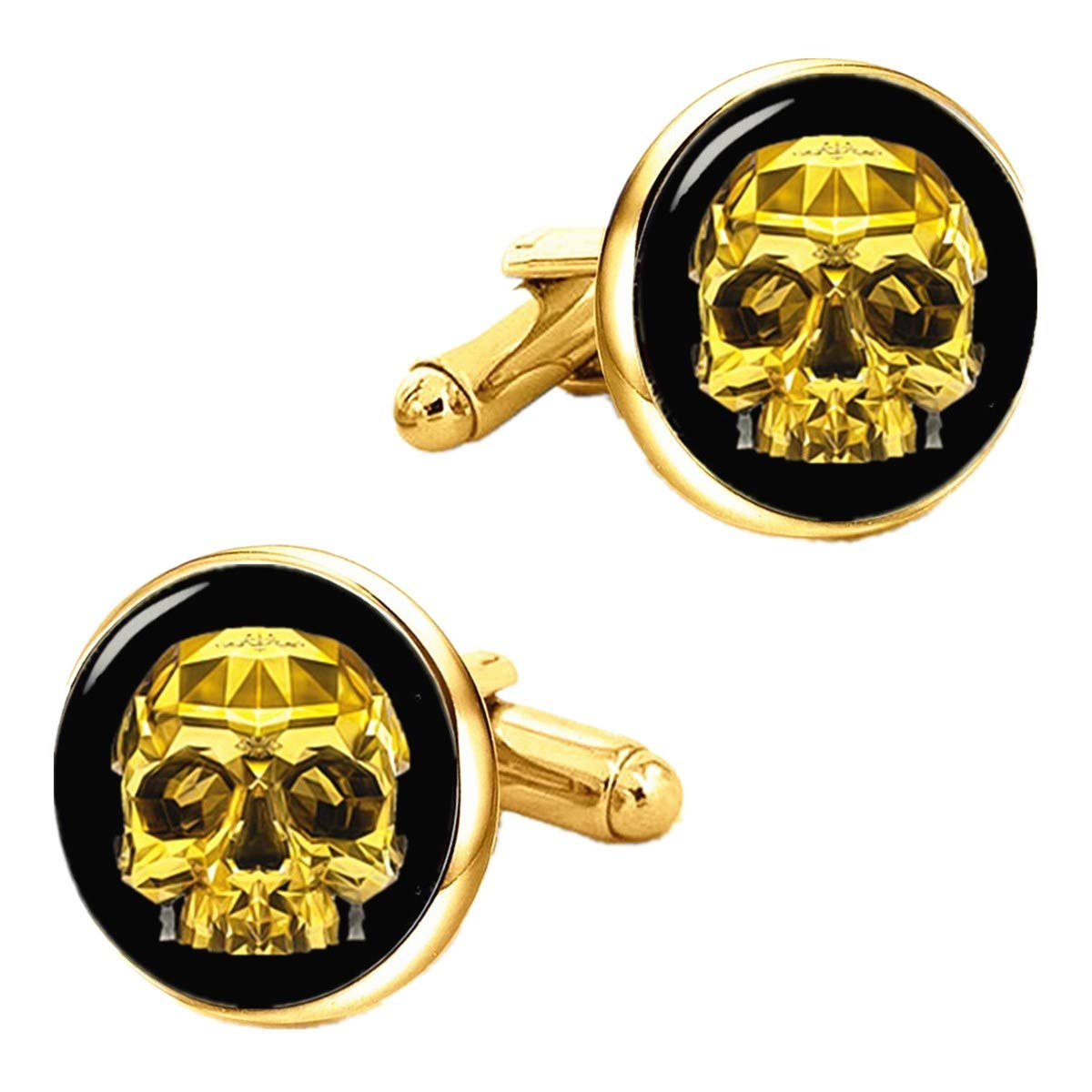 Kooer Vintage Gold Skull Cufflinks Handmade Custom Personalized Skull Cuff Links Wedding Jewelry Gift (Gold Plated)