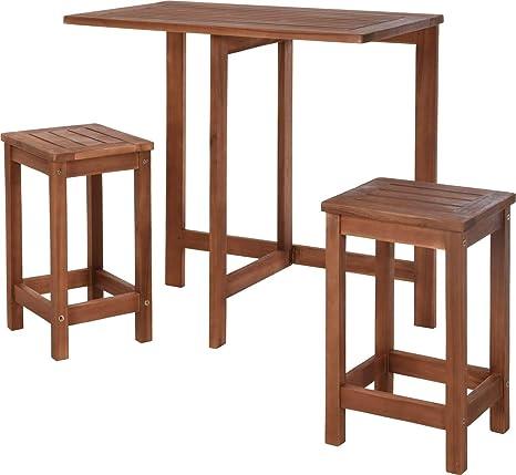 KOOPMAN Table Pliante avec Tabouret 3 pièces Bois Salon de ...