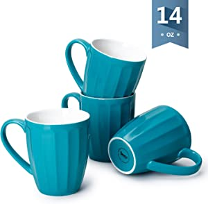 Sweese 602.107 Porcelain Fluted Mugs - 14 Ounce Coffee Cup Set for Coffee, Tea, Cocoa, Set of Steel Blue