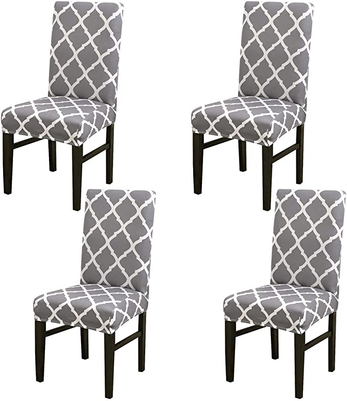 Stretch Dining Chair Slipcover 4pcs Spandex Dining Chair Covers Removable Washable Universal Protector Cover Seat Slipcover for Hotel Dining Room Ceremony Banquet Wedding Party (Gray Grid)