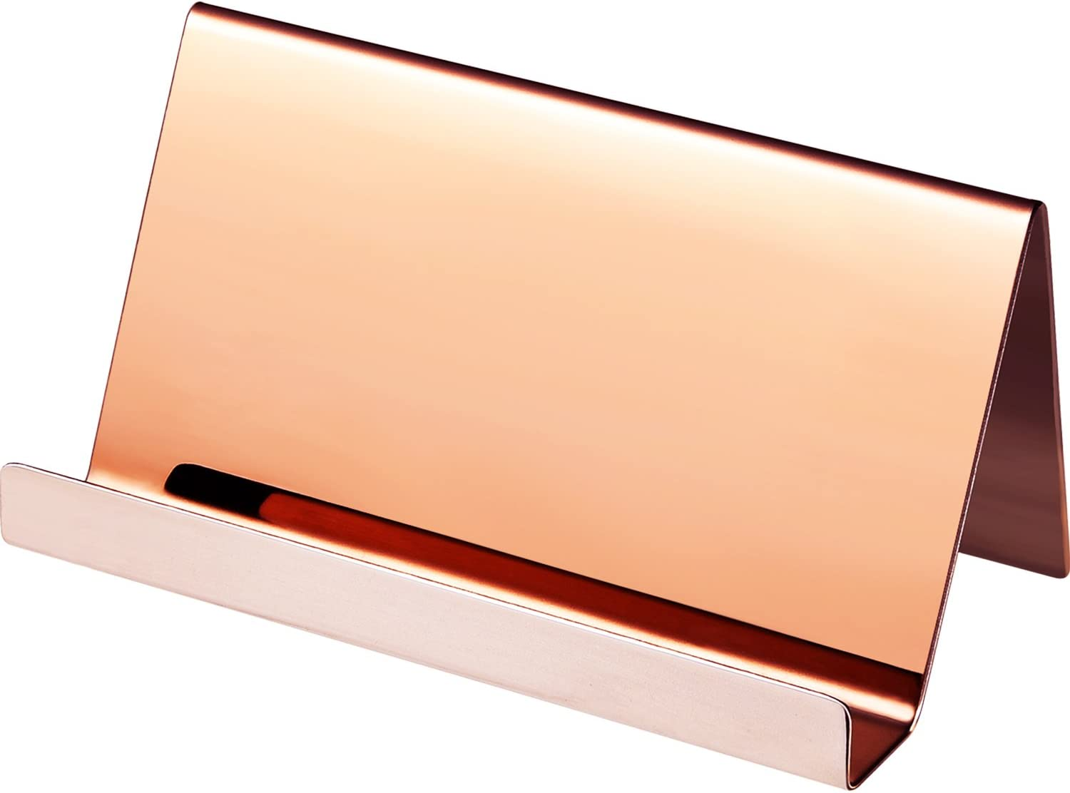 Maxdot Stainless Steel Business Card Holders Name Cards Display Desktop Organizer, Rose Gold (1)