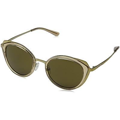 Michael Kors 0MK1029 Gafas de sol, Shiny Pale Gold/Brown Transpar, 52 para Mujer: Ropa y accesorios