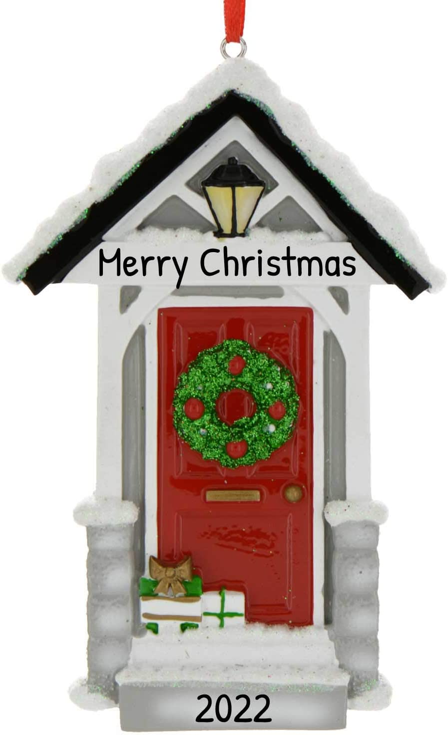Personalized New Door Christmas Tree Ornament 2020 - Elegant Front Winter Family Snowy Stone Housewarming Light Host Glitter Year Victorian Wooden Garnish Single House-Mate Room - Free Customization