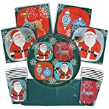 Christmas Disposable Party Paper Cups, Napkins, Plates and Tablecloth Tableware Set, Serves 15 Guests, Great Supplies for Complete Holiday Season Themed Dinnerware for Classroom or Office Xmas Parties