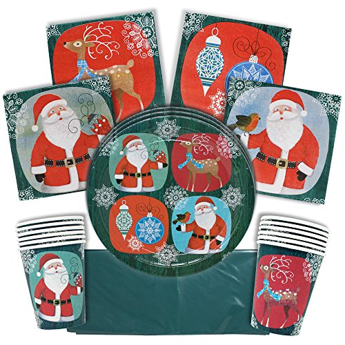 Christmas Disposable Party Paper Cups, Napkins, Plates and Tablecloth Tableware Set, Serves 15 Guests, Great Supplies for Complete Holiday Season Themed Dinnerware for Classroom or Office Xmas Parties]()