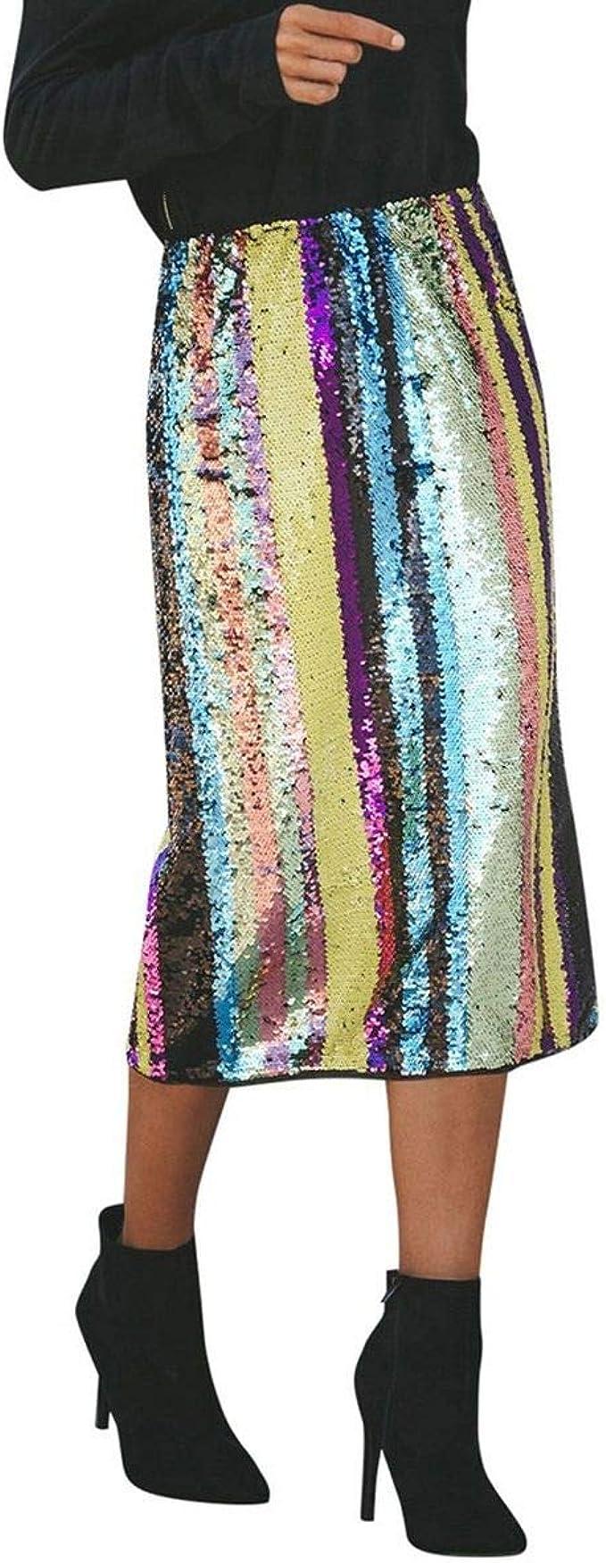New Ladies Rainbow Print Striped Maxi Multi Color Full Length Women Tube Skirt
