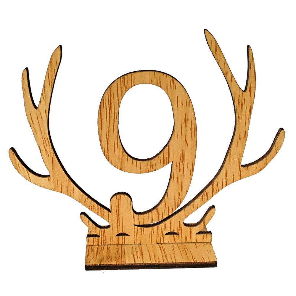 Scoolr - numeri segnatavolo, da 1a 20, in legno, con asta e base di supporto, adatti a feste nuziali