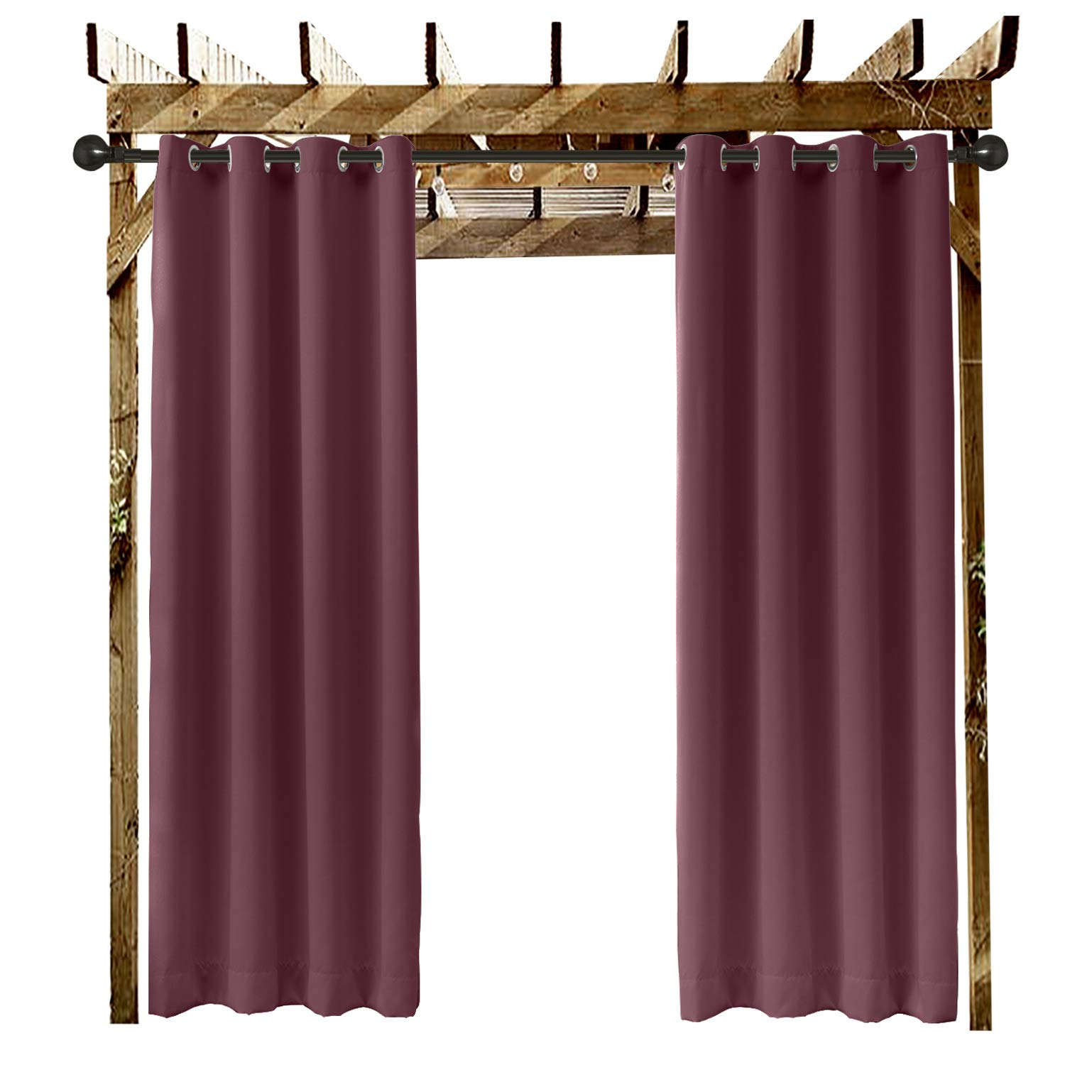 ChadMade Outdoor Curtain Burgundy 52'' W x 84'' L Grommet Eyelet in Front Porch Pergola Cabana Covered Patio Gazebo Dock and Beach Home (1 Panel)