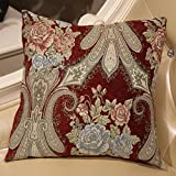 ZUOANCHEN Cushion Luxury European Gorgeous Luxury Chenille Plant Flowers American Living Room Home Fabric Bed Head Pillow with Pillow 4545CM (Color : Red)