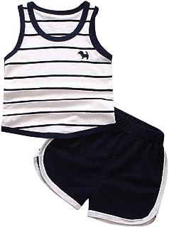 SamMoSon 2pc Bambini Set Neonato Ragazzi A Strisce Cane Veste T Shirt Top +Pantaloni Abiti Set
