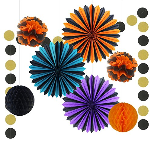 Halloween Party Decor Set Tissue Paper Fan Paper Garland String Tissue Paper Tassel Garland Party Supplies 2 Style Available (Halloween Set B)
