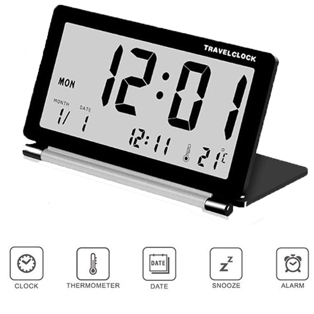 SOEKAVIA Orologio LCD di scrivania elettronico ultrasottile Conchiglia di Clam Orologio Sveglia Termometro per viaggio portatile pieghevole - Nero