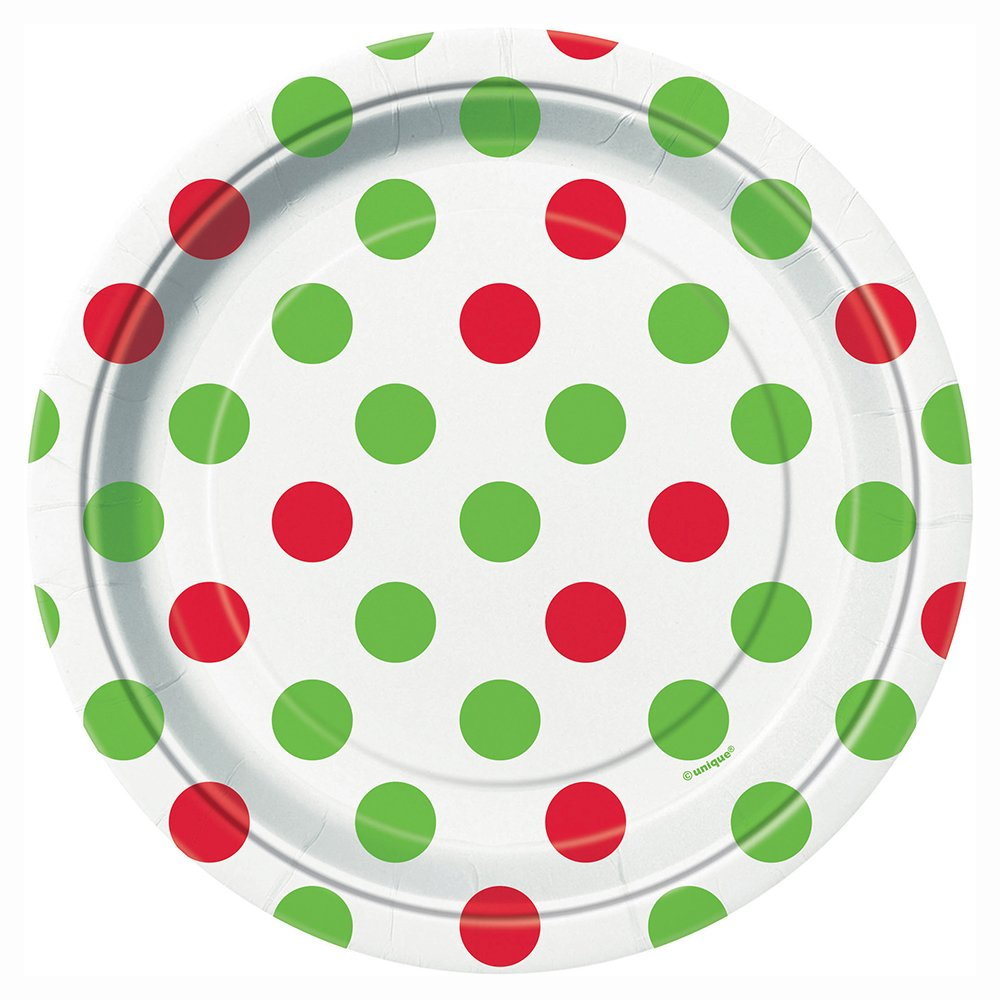 Red & Green Polka Dot Christmas Dessert Plates, 8ct