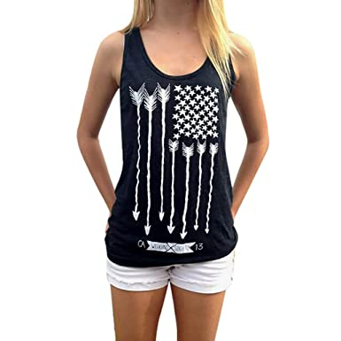 5fc7dfa9ee6faa Women Tank Top American Flag Print Independence Day Graphic Sleeveless Tops  Patriotic Racerback Tee Shirts at Amazon Women's Clothing store: