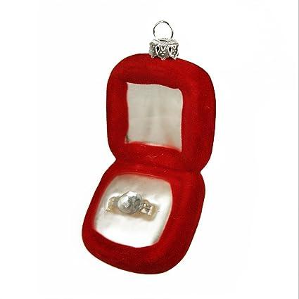325 diva jewel red wedding ring box glass christmas ornament - Christmas Ornament Ring Box