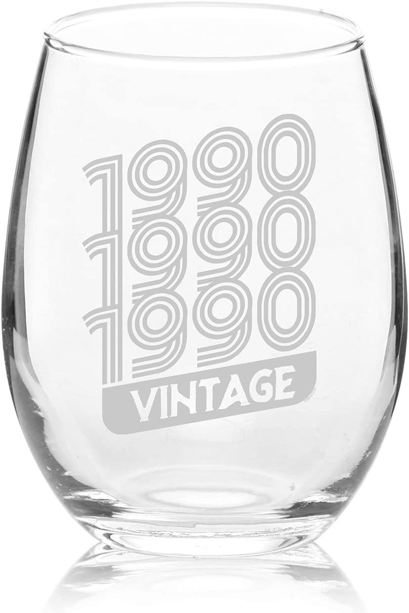 NeeNoNex Vintage Established 1979 Stemless Wine Glass 40th Fortieth Birthday Gift