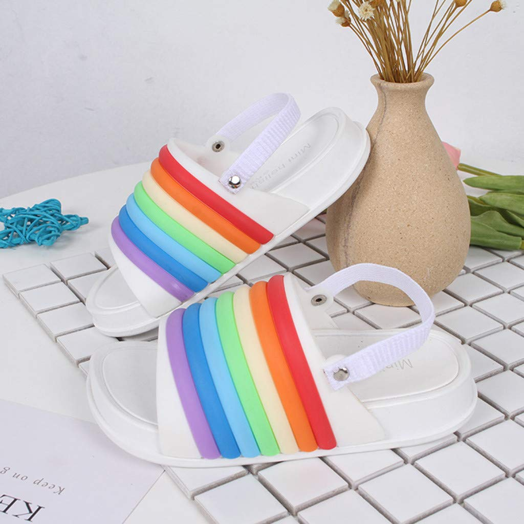 Baby Slippers Cute Girl boy Rainbow Sandals Bath Slippers Non-Slip Slippers Beach Slides Soft Shoes Sandals