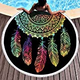 Sleepwish Neon Dream Catcher Beach Towel Circle Yoga Mat Large Round Beach Blanket with Tassels (Rainbow Dreamcatcher, 60'')