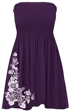 e20eb8009f5 Click Selfie New Womens Plus Size Purple Floral Leaves Sheering Strapless  Boob Tube Mini Tops 8-20  Amazon.co.uk  Clothing