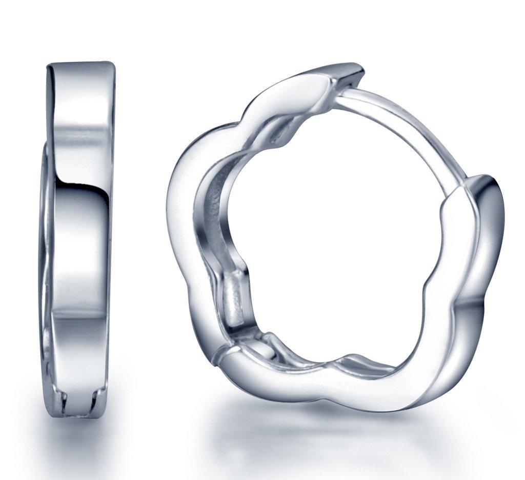 Infinite U Huggie Earrings 925 Sterling Silver Small Hoop for Women/Girls (Plum Flower) by Infinite U
