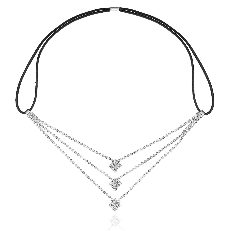 LY8 Fashion Women Silver Tone Crystal Art Deco Bridal Hairband Headband Wedding Accessory