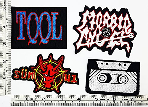 Set Rock music 485 Tool Morbid Angel Musicassette Heavy Metal Music Punk Band Logo Embroidered Iron on Hat Hoodie Backpack Ideal for Birthday Gift