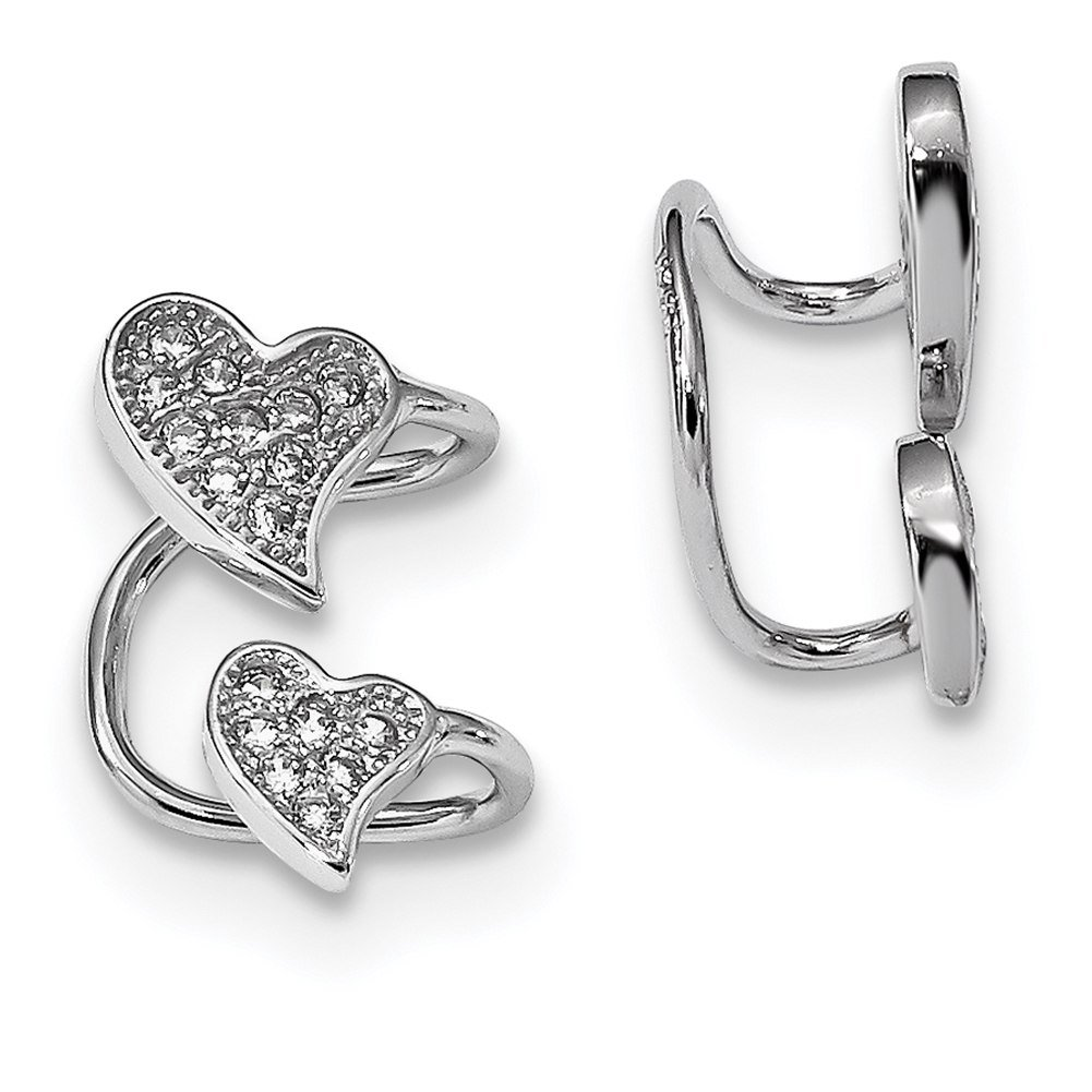 Lex & Lu Sterling Silver w/Rhodium CZ Double Heart Left Cuff Earring LAL110346 LALQE13676