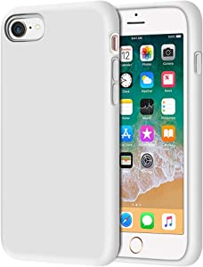"Anuck iPhone SE 2020 Case, iPhone 8 Case, Non-Slip Liquid Silicone Gel Rubber Bumper Case Soft Microfiber Lining Hard Shell Shockproof Full-Body Protective Case Cover for iPhone 7/8/SE 4.7"" - White"