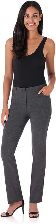 Rekucci Womens Smart Stretch Desk to Dinner Straight Leg Pant w//Zipper Closure