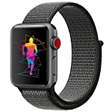 INTENY Sport Band Compatible for Apple Watch 42mm, Breathable Nylon Sport Loop, Strap Compatible for iWatch Series 3, Series 2, Series 1 (Dark Olive, 42mm)