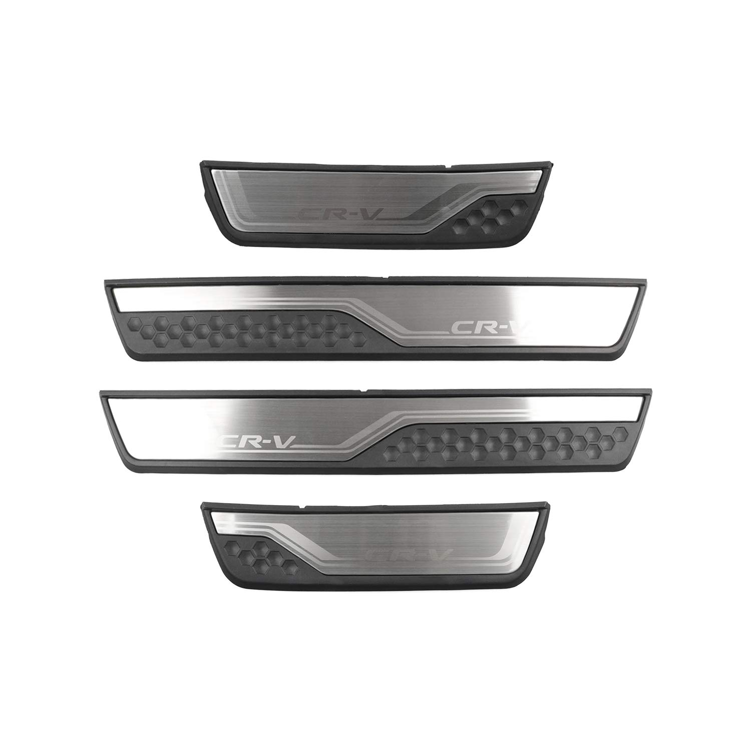 Car Door Sill Scuff Trim Plate Protectors for Honda CRV Decal Sticker Sill Protector Kit Decoration Cover Pedal Guard with Logo 4PCS R RUIYA