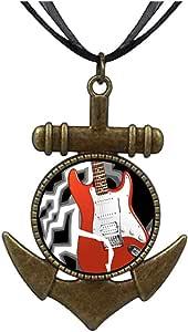 Chicforest Bronze Retro Style Music Theme Powerful Electric Guitar Anchor Pendant Pendant Necklaces