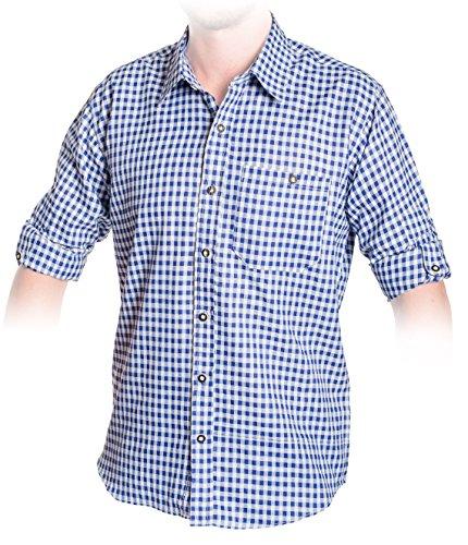 Trachten Hemd Blau, Kariertes Trachtenhemd Größe S bis 2XL (L, Blau)