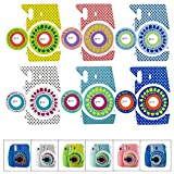 6 Decorative Camera Stickers for Fujifilm Instax Mini Cameras – Color Variety: Light Blue, Pink, Purple, Turquoise, White, Yellow – Deluxe Bundle