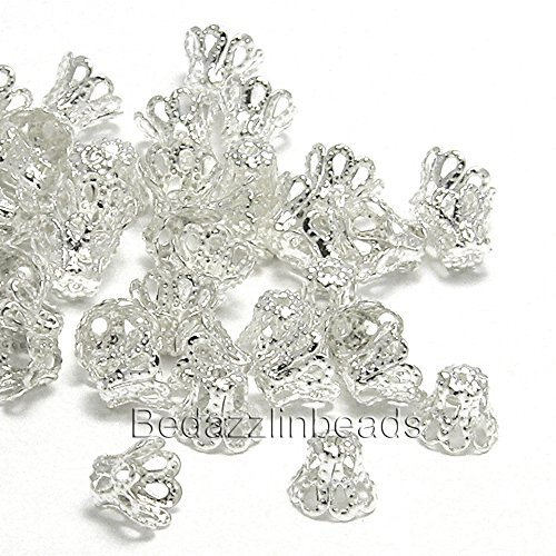 Filigree Basket (100 Silver Plated Filigree Basket Accent Bead End Caps for 7mm-9mm Beads)