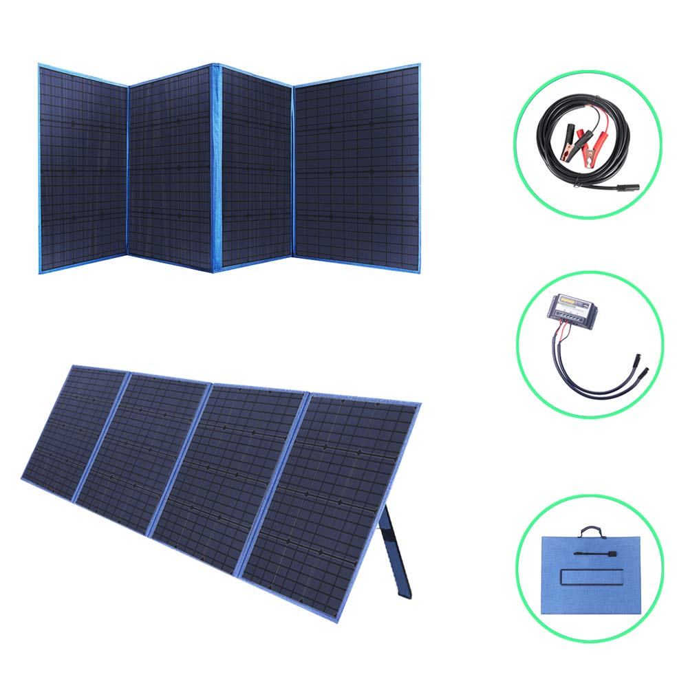 SARONIC 200W 12V Foldable Solar Panel Kit Monocrystaline with a 15A Solar Charge Controller for Camper Motorhome Rallies Mobile Offices 12v Battery Charging Caravanning