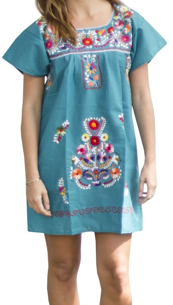 Liliana Cruz Embroidered Mexican Peasant Half Mini Short Dress Tunic (Teal Size 3X)