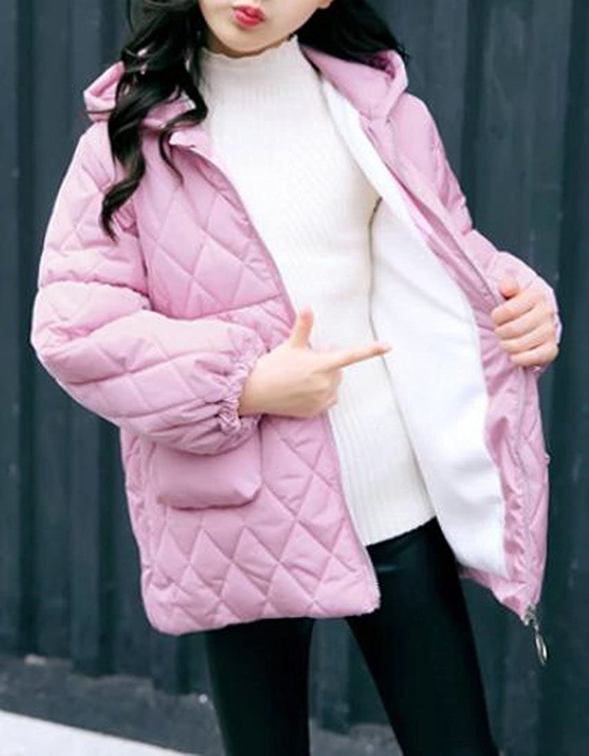 C/&H Girls Solid Hoodie Cotton Winter Cute Outwear Jacket Coat