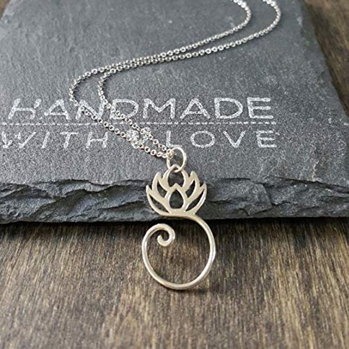 Sterling Silver Lotus Charm Holder Necklace-20 inch chain