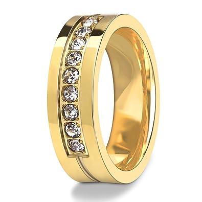 DALARAN Anillos de zirconia cúbicos de acero inoxidable, banda de eternidad de oro para mujer