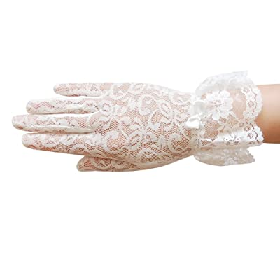 ZaZa Bridal Stretch Floral lace Gloves for Girl with lace Ruffle Trim Wrist Length 2BL: Clothing