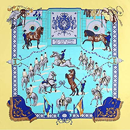 Homely Brand Silk Scarf Woman Spain Print Royal Anthem Neck